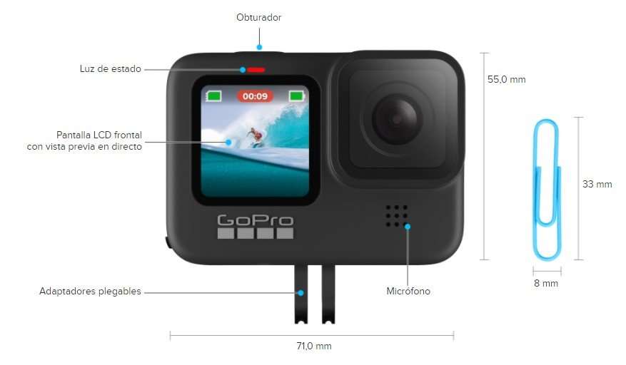 GoPro HERO9 Black tamaño