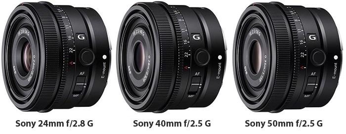 Sony anuncia 3 nuevos objetivos: 24mm f2.8 G, 40mm f2.5 G, 50mm f2.5 G